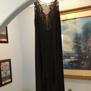 BCBGMaxAzria black lace hi low prom gown sz 0